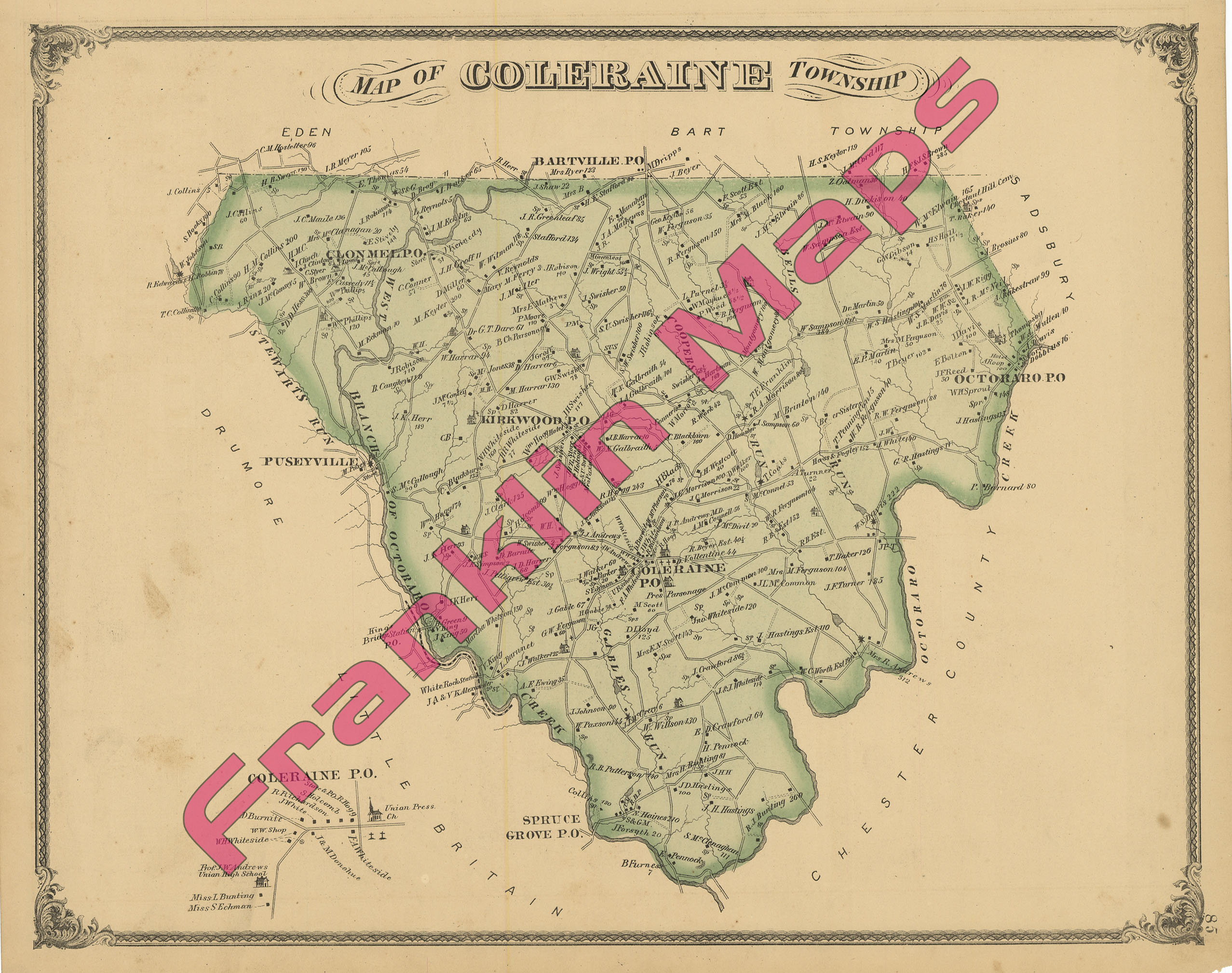 East Petersburg Pa >> Andy's Antique Maps -1875 Lancaster County