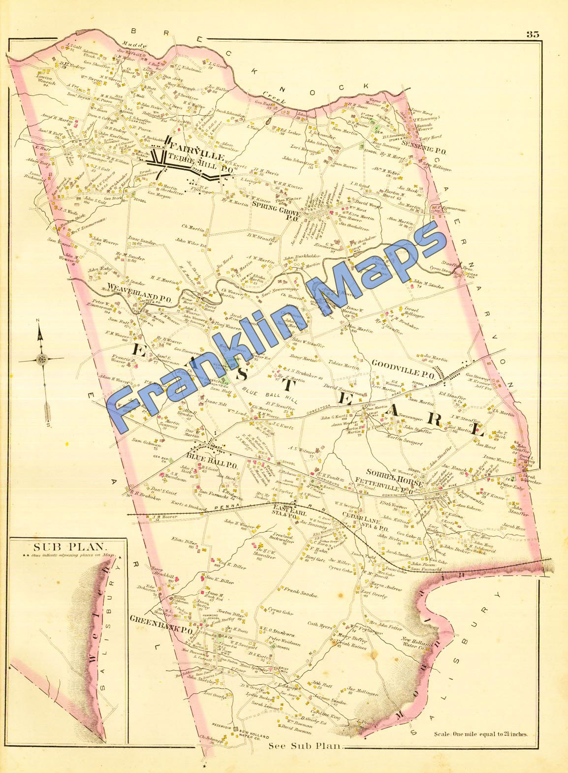 East Petersburg Pa >> Andy's Antique Maps -1899 Lancaster County, Pennsylvania ...